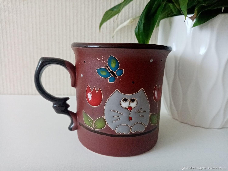 Ceramic mug handmade: Curious cats, Mugs and cups, Krasnodar,  Фото №1