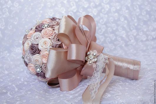 """Свадебные цветы ручной работы. Ярмарка Мастеров - ручная работа. Купить Свадебный букет из атласных лент """"Шоколадное настроение"""". Handmade."""