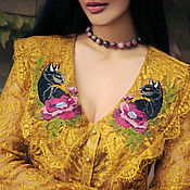 Одежда handmade. Livemaster - original item Golden guipure blouse with embroidery