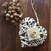 Для дома и интерьера ручной работы. Ярмарка Мастеров - ручная работа Сердце с вязаным фрагментом. Handmade.