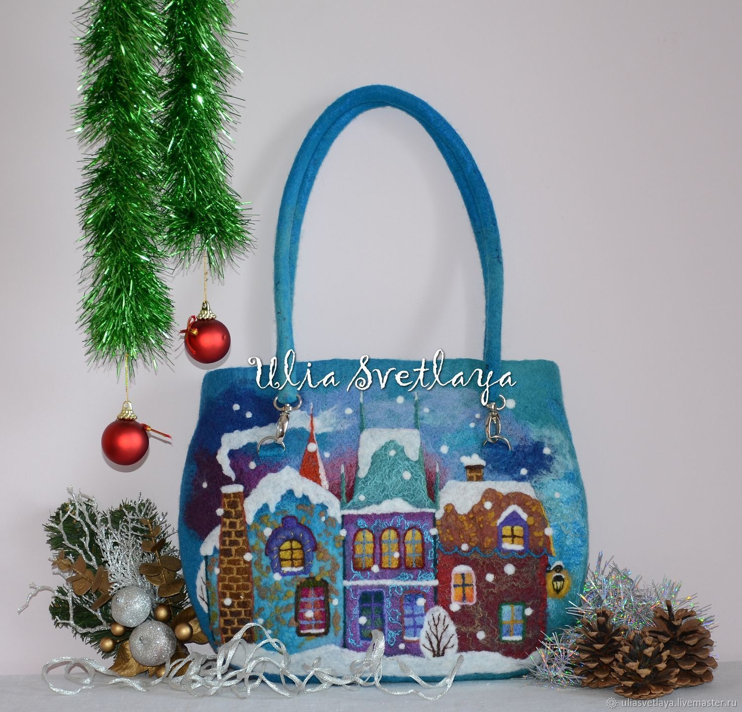 Designer handbags and accessories Julia Bright, buy the author's felted bag, beautiful shoulder bag, bag decor, bag blue, original gift for the new Year, gift girl woman