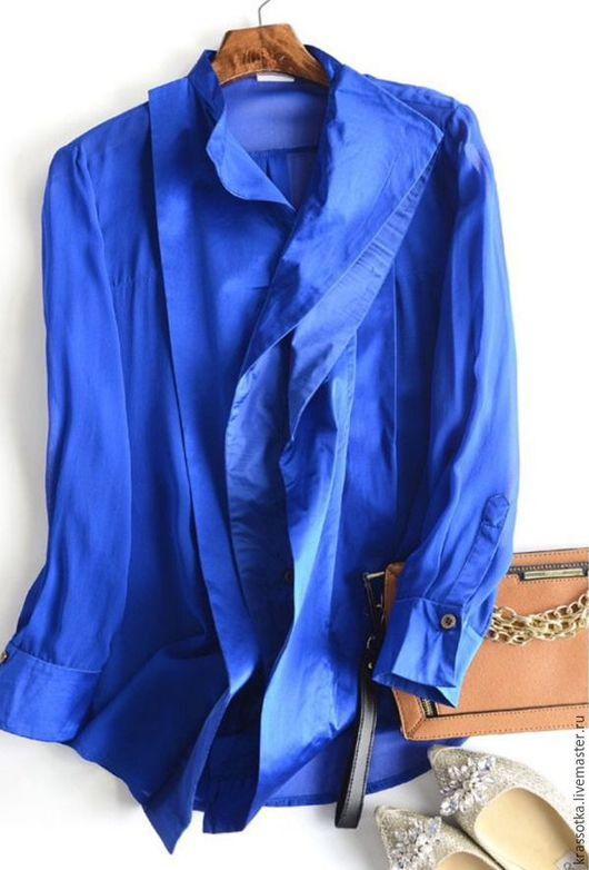 Блузки ручной работы. Ярмарка Мастеров - ручная работа. Купить Блузка шелковая. Handmade. Синий, блуза из шелка, блуза на работу