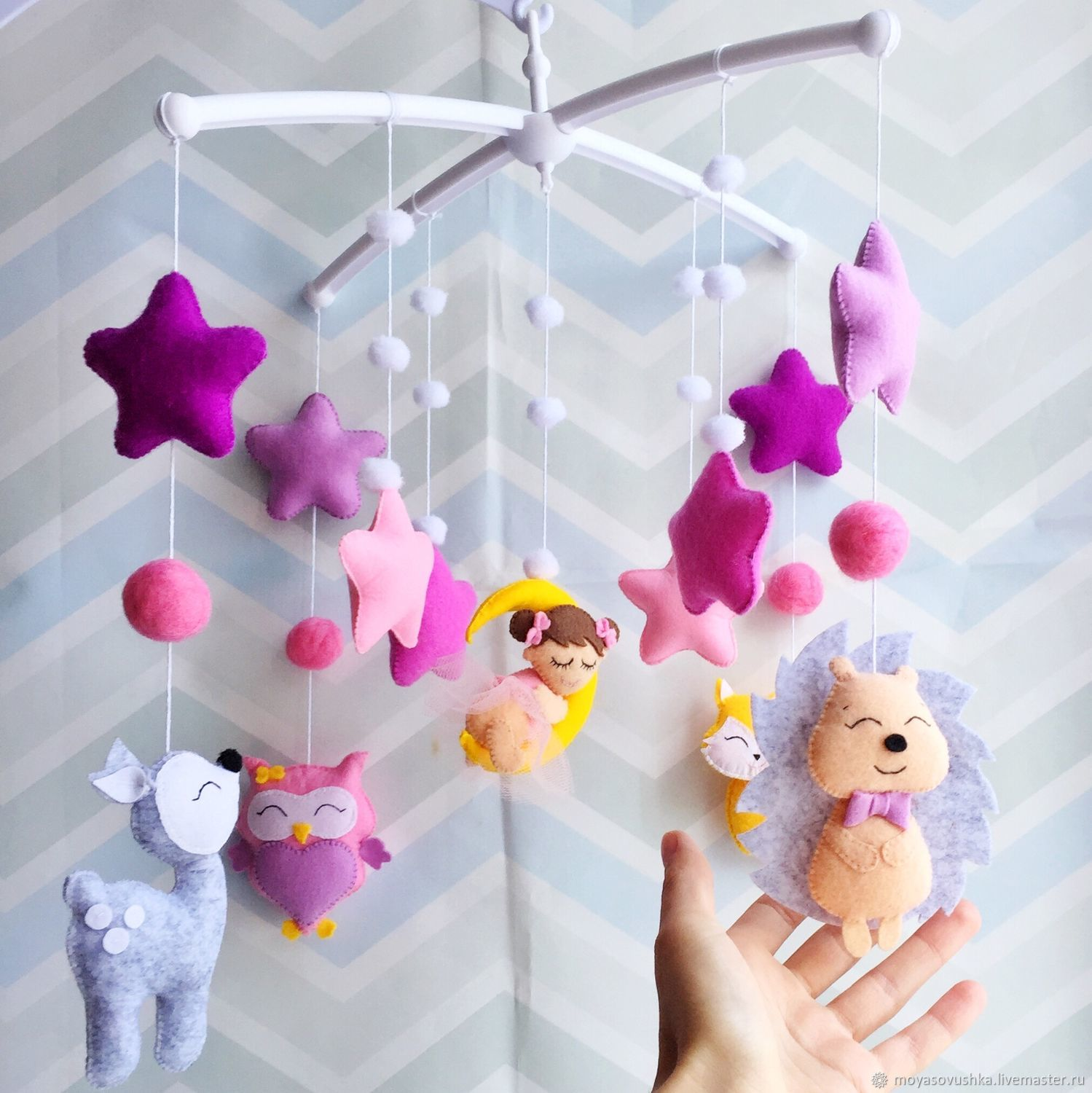 Mobile in a felt bed - Purple fairy tale, Toys for cribs, Moscow,  Фото №1