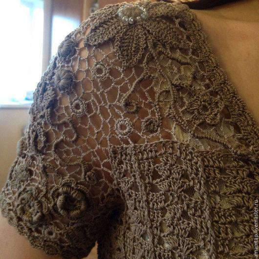 Платья ручной работы. Ярмарка Мастеров - ручная работа. Купить Платье вязаное вставка кружевная ирландское кружево Крыло бабочки. Handmade.