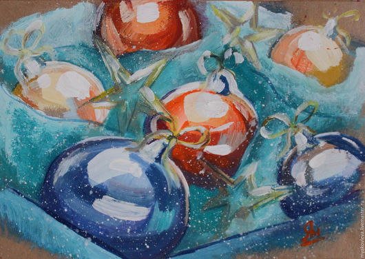 Картина `Ёлочные шарики`, бумага, гуашь. 21х30, 2016 г.