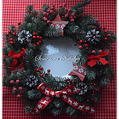 Сувениры и подарки handmade. Livemaster - original item Christmas wreath, interior, Christmas, New Year 2021. Handmade.