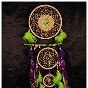 Фен-шуй и эзотерика ручной работы. Ярмарка Мастеров - ручная работа Green Violet Dream Catcher Chameleon totem Dreamcatcher violet. Handmade.