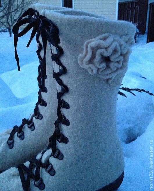 """Обувь ручной работы. Ярмарка Мастеров - ручная работа. Купить Войлочные женские ботинки """"Белые ночи"""". Handmade. Белый"""