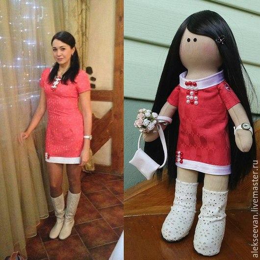 Портретные куклы ручной работы. Ярмарка Мастеров - ручная работа. Купить Портретная кукла Светлана. Handmade. Коралловый, кожа искусственная