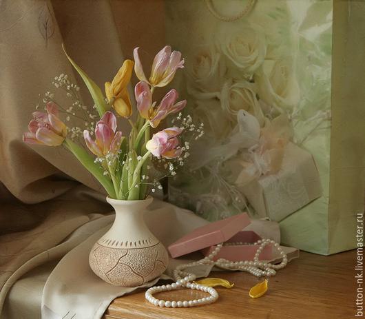 Фотокартины ручной работы. Ярмарка Мастеров - ручная работа. Купить натюрморт Забытая мелодия с тюльпанами и жемчугом. Handmade. Розовый, бежевый