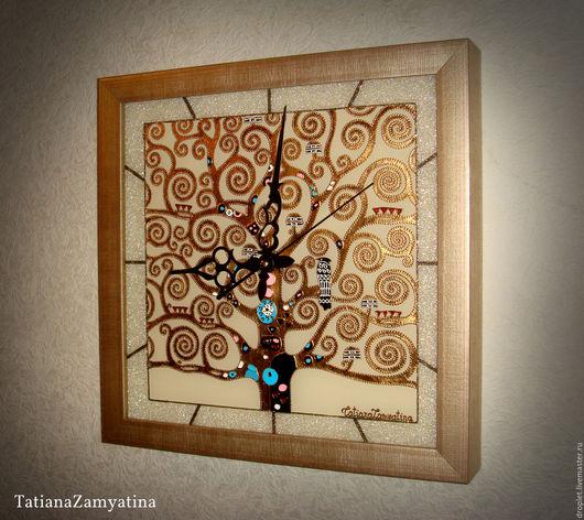 """Часы для дома ручной работы. Ярмарка Мастеров - ручная работа. Купить Часы """"Древо жизни"""" квадратные. Handmade. Золотой, часы"""