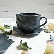 Посуда ручной работы. Ярмарка Мастеров - ручная работа Чашка Лотос чёрная. Handmade.