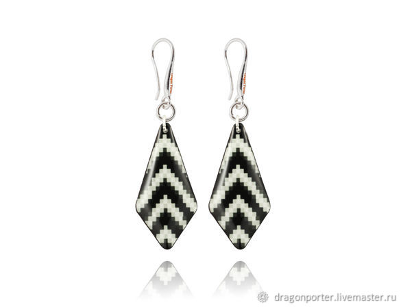 Earrings diamonds black and white everyday as a gift 'Zebra', Earrings, Moscow,  Фото №1