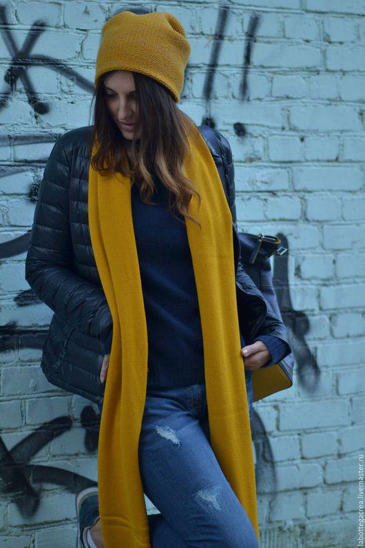Шарфы и шарфики ручной работы. Ярмарка Мастеров - ручная работа. Купить Вязаный шарф из 100% мериносовой шерсти. Handmade. Желтый
