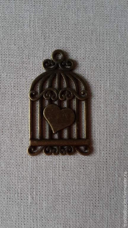 Для украшений ручной работы. Ярмарка Мастеров - ручная работа. Купить Подвеска сердце в клетке (шарм,кулон). Handmade. Золотой