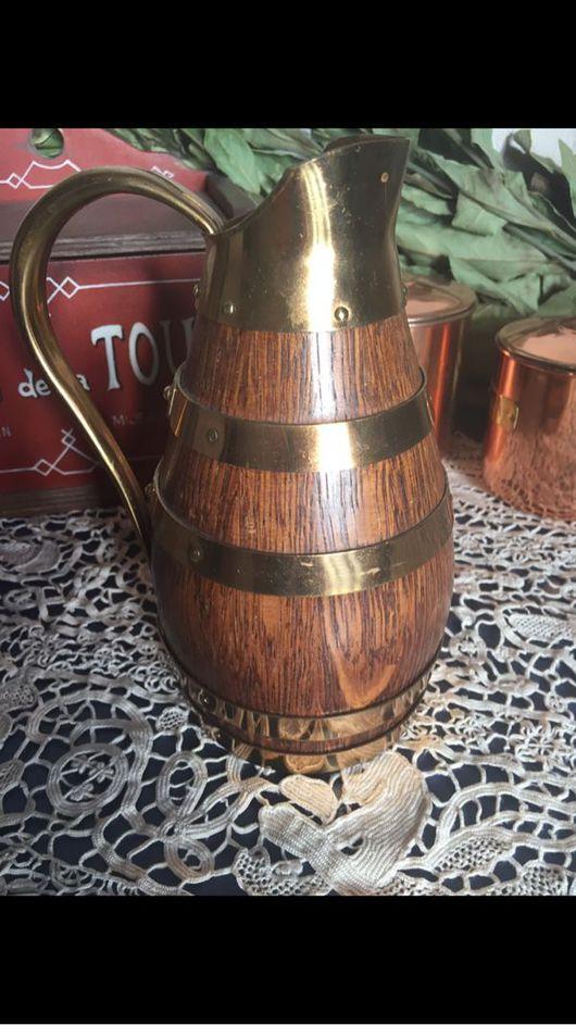Винтажная посуда. Ярмарка Мастеров - ручная работа. Купить Старинный деревянный кувшин. Handmade. Дерево, латунь, кантри стиль