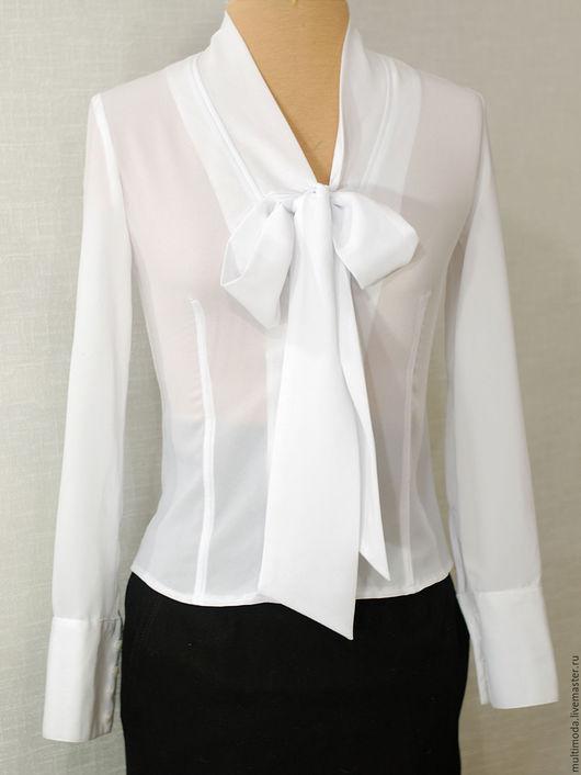 Блузки ручной работы. Ярмарка Мастеров - ручная работа. Купить Белая блузка с бантом. Handmade. Белый, шифон