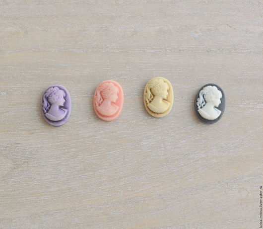 Куклы и игрушки ручной работы. Ярмарка Мастеров - ручная работа. Купить 4 цвета! Камеи с дамой 13х18 мм. Handmade.