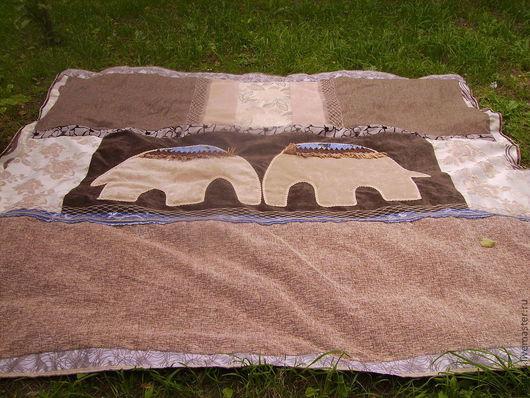 Текстиль, ковры ручной работы. Ярмарка Мастеров - ручная работа. Купить Покрывало Влюбленные слоны.. Handmade. Коричневый, бохо-стиль