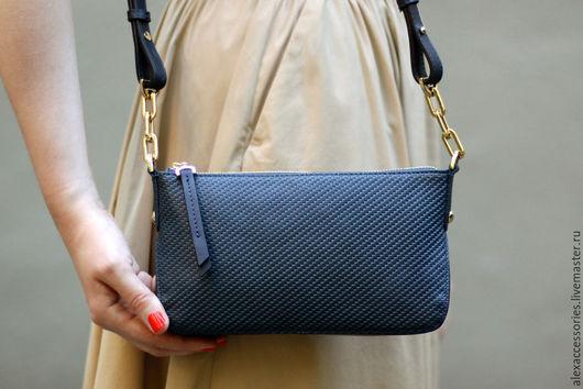 Женские сумки ручной работы. Ярмарка Мастеров - ручная работа. Купить Синяя кожаная сумка Trudy, женская сумка. Handmade.