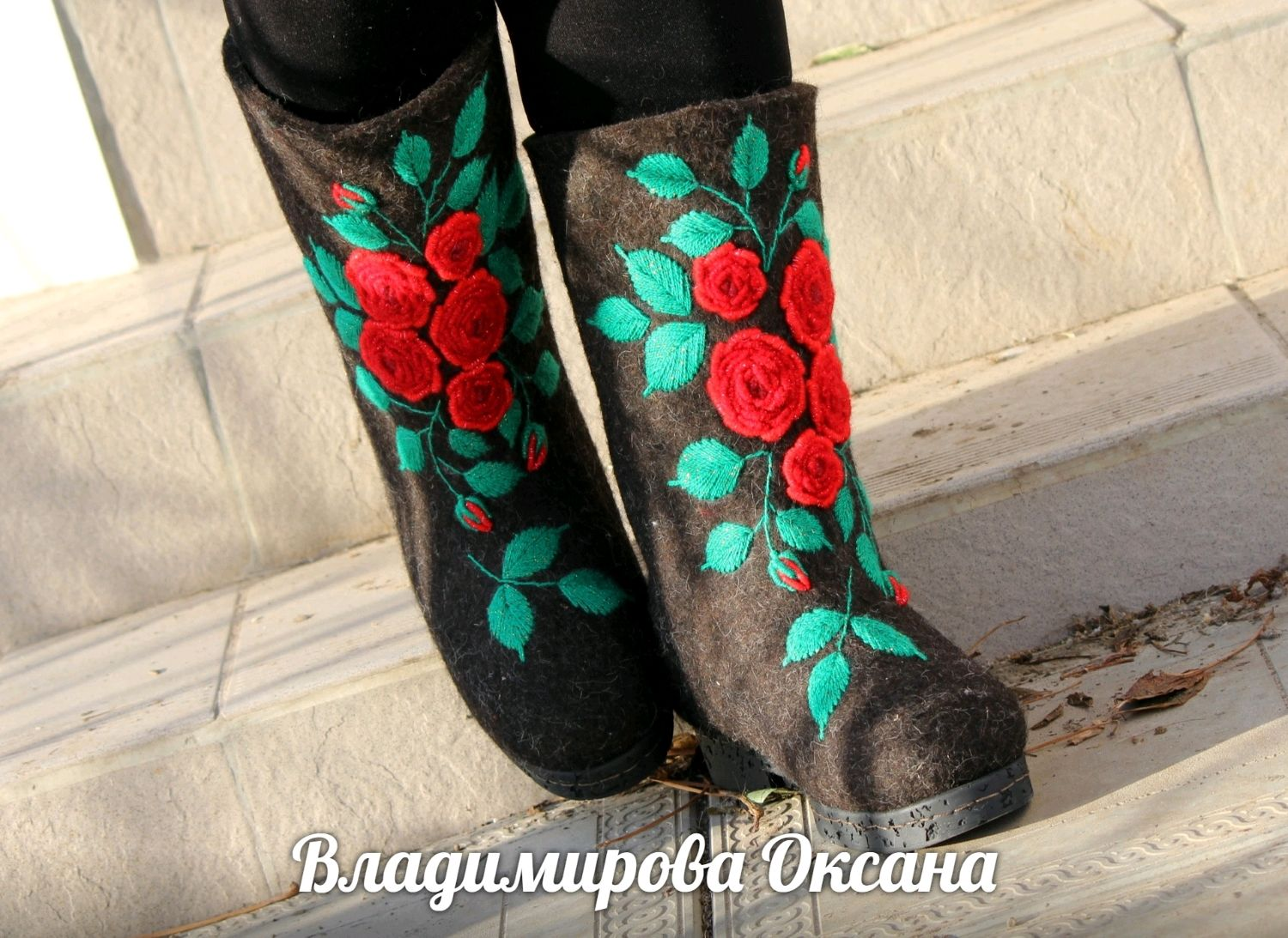 Women's boots, black, with embroidery ' ROSES', Felt boots, Cheboksary,  Фото №1