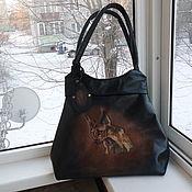 3ead98c9a959 Сумка кожаная женская и косметичка с ручной росписью Клеопатра ...