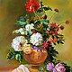 """Картины цветов ручной работы. Ярмарка Мастеров - ручная работа. Купить Картина """"Классический Натюрморт с Пионами и Розами"""" (холст, масло). Handmade."""
