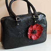 Сумки и аксессуары handmade. Livemaster - original item Leather bag with poppy art. S106R61. Handmade.