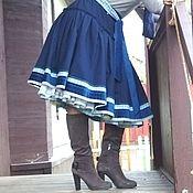 Одежда handmade. Livemaster - original item Dark blue skirt, MIDI skirt in the style boho.. Handmade.