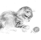 Картины и панно handmade. Livemaster - original item picture a kitten and a ball of string. graphics. karina handmade.. Handmade.