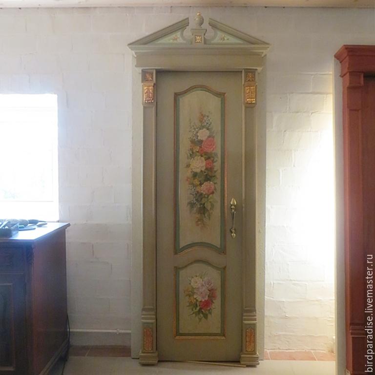 Дверь деревянная расписная, дверь для дома, роспись дверей и мебели.
