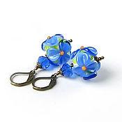 Украшения ручной работы. Ярмарка Мастеров - ручная работа Серьги цветы лэмпворк (голубой синий). Handmade.