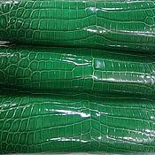 Материалы для творчества handmade. Livemaster - original item Crocodile leather, dark green, glossy finish, custom made!. Handmade.