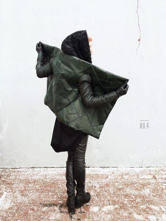 Верхняя одежда ручной работы. Ярмарка Мастеров - ручная работа. Купить Весенняя/зимняя куртка с аппликацией из натуральной кожи. Handmade.