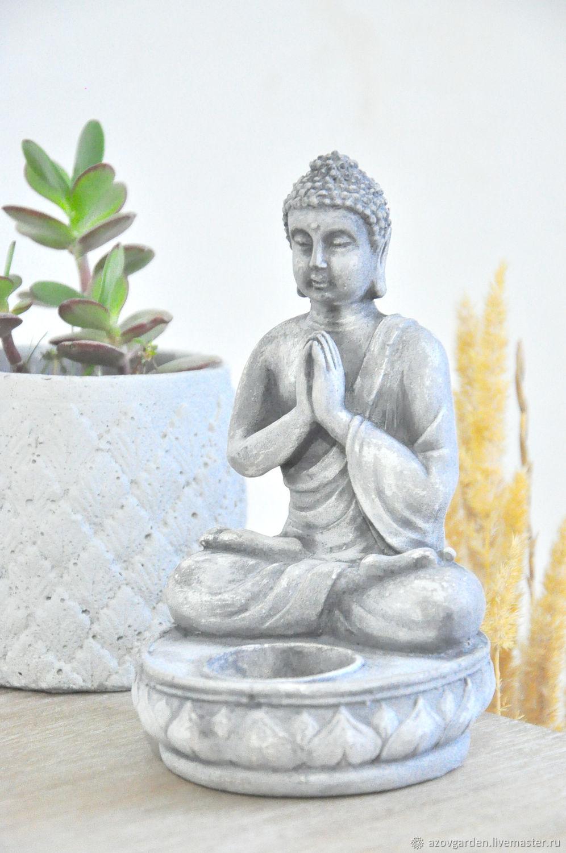 Статуэтка-подсвечник Будда из бетона, под бронзу, серебро, камень, Статуэтки, Азов,  Фото №1