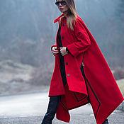 Одежда handmade. Livemaster - original item Bright red coat of a free cut - CT0033CA. Handmade.
