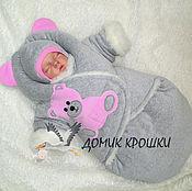 """Работы для детей, ручной работы. Ярмарка Мастеров - ручная работа Комбинезон-конверт """"Серенький Мишка с розовым"""" слитные ножки. Handmade."""
