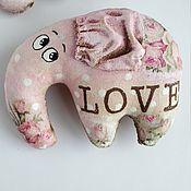 Куклы и игрушки ручной работы. Ярмарка Мастеров - ручная работа Слоник. Кофейные слоники. Магниты. Розовый. LOVE. Handmade.