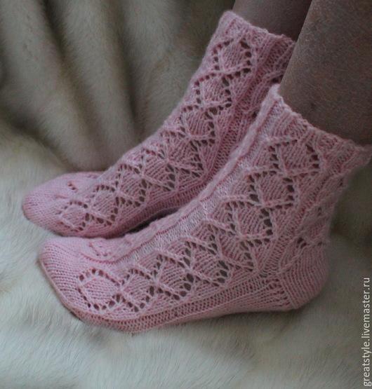 """Носки, Чулки ручной работы. Ярмарка Мастеров - ручная работа. Купить Ажурные носки """"Розовые сны"""". Handmade. Бледно-розовый"""