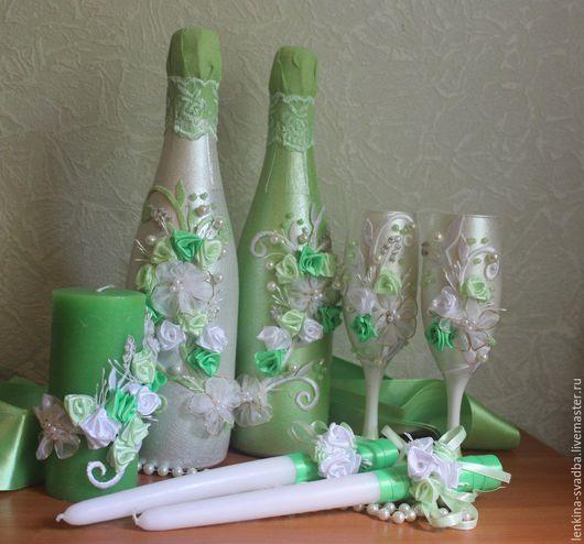Свадебные аксессуары ручной работы. Ярмарка Мастеров - ручная работа. Купить Декорирование бутылок и фужеров. Handmade. Комбинированный, декорирование бутылок