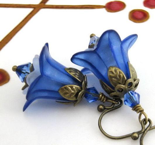 Серьги ручной работы. Ярмарка Мастеров - ручная работа. Купить Серьги «Синие колокольчики». Весенний цветок.. Handmade. Шебби-шик