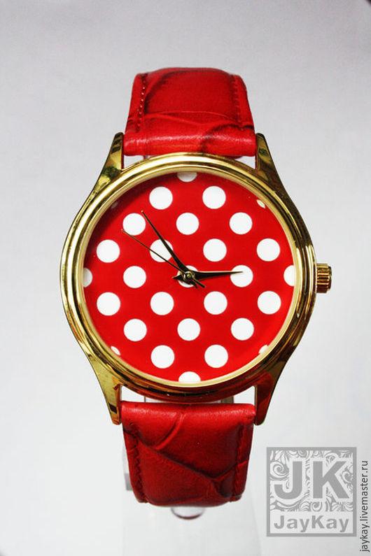 """Часы ручной работы. Ярмарка Мастеров - ручная работа. Купить Часы наручные JK """"Горох"""" в красном. Handmade. Часы"""