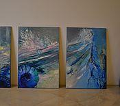 """Картины и панно ручной работы. Ярмарка Мастеров - ручная работа Картина из трёх частей """"Морская жизнь"""". Handmade."""