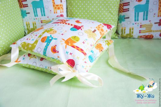 """Детская ручной работы. Ярмарка Мастеров - ручная работа. Купить Бортики в кроватку (бортики-подушки) """"Озорные жирафы"""" 12шт. Handmade."""