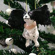 """Куклы и игрушки ручной работы. Ярмарка Мастеров - ручная работа Ватная ёлочная игрушка""""Собака символ года. Папильон"""". Handmade."""