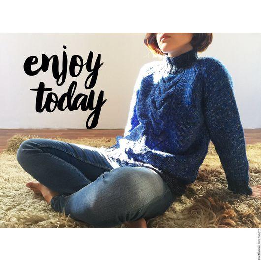 """Кофты и свитера ручной работы. Ярмарка Мастеров - ручная работа. Купить Свитер """"Синий меланж"""". Handmade. Свитер, стильный свитер"""