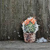 "Украшения handmade. Livemaster - original item Текстильная бохо брошь ""Кактус"". Handmade."
