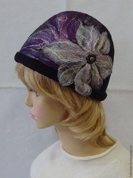 """Шляпы ручной работы. Ярмарка Мастеров - ручная работа. Купить Шляпка """"Вечерний цветок"""".. Handmade. Черный, шелковые волокна"""