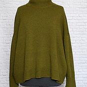 Одежда handmade. Livemaster - original item Jerseys: Japanese shoulder sweater oversize cashmere olive. Handmade.