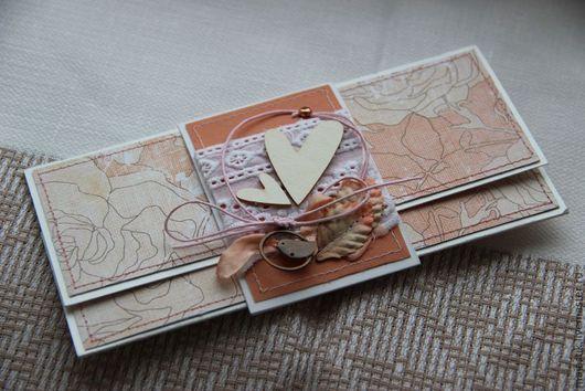 Свадебные открытки ручной работы. Ярмарка Мастеров - ручная работа. Купить Свадебный конверт для денег. Handmade. Коралловый, свадьба, нежный